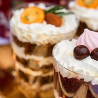 Variety of panacota italian desserts in glass